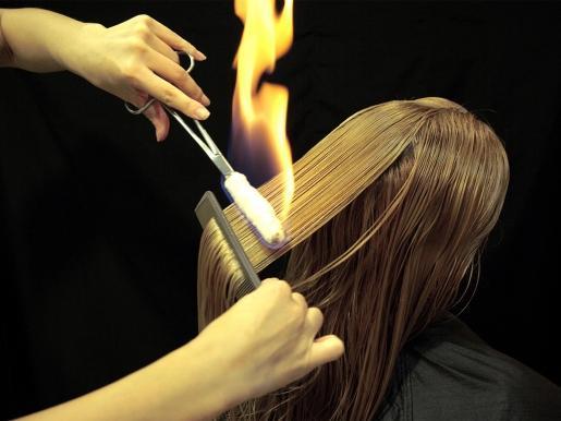 обжиг волос огнем