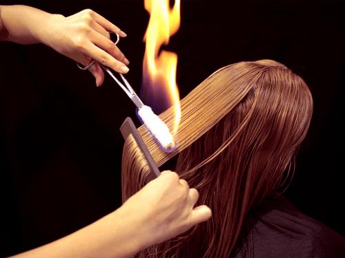 Стижка волос огнем